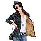 AvaCostume Winter Casual Thicken Fleece Plaid Shirts for Women, GreenRed, L