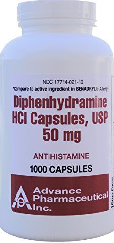 Diphenhydramine HCI 50 mg Allergy Medicine and Antihistamine Generic for Benadryl Allergy 1000 Capsules per Bottle