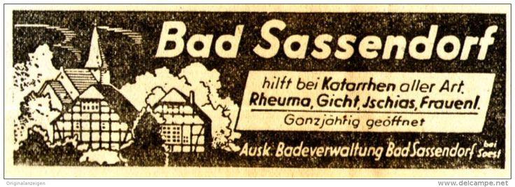 Original-Werbung/Anzeige 1938 - BAD SASSENDORF - ca. 80 x 30 mm
