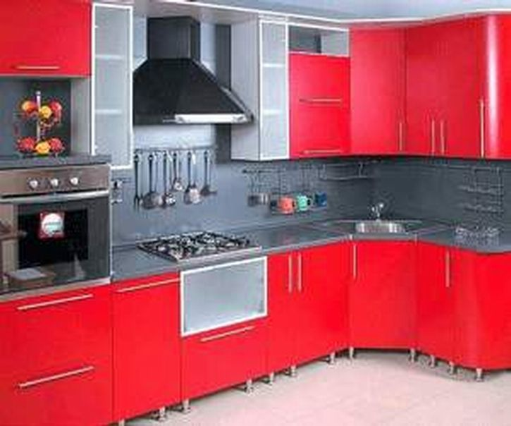 Details About Red Kitchen Cabinet Colors With Black Appliances