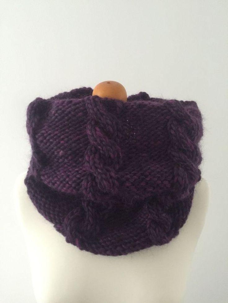 Hand Knit Super Chunky Cable Infinity Cowl Neckwarmer in Purple, Merino Wool   eBay