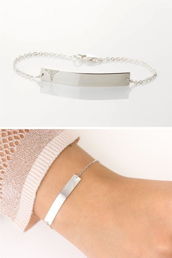 Stylish Sterling Silver ID Bracelet: A medical alert bracelet thats not ugly...since no one else seems to be making one! If youre not looking for an alert bracelet thats not also an attention grabbing accessory, this ones for you. Its subtle, but will work as needed, if needed. …………………………………. ABOUT THE BRACELET:  - All components are sterling silver - The Large Legacy Bar is 38x6mm - Choose from 3 styles of chain for your bracelet (see photo #2) - Made to Order at your size (sizing note…
