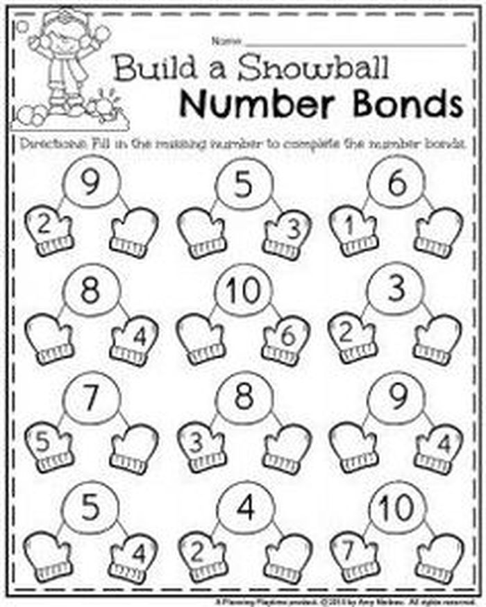 Number Bonds Worksheets In 2020 January Kindergarten Worksheets January Kindergarten Numbers Kindergarten