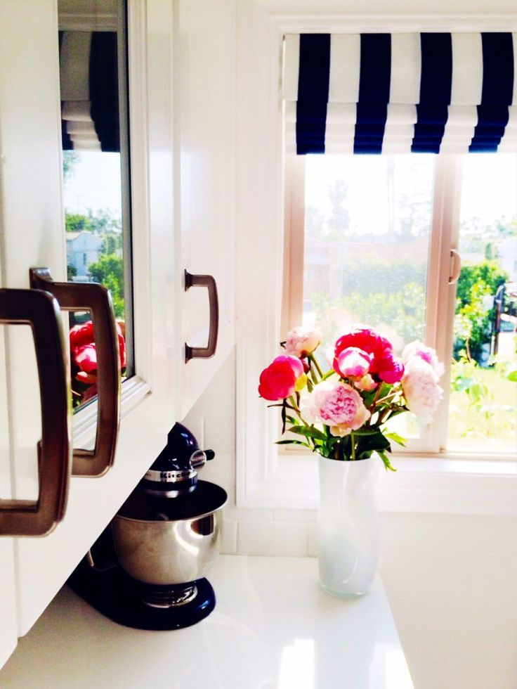 navy stripes and pink peonies