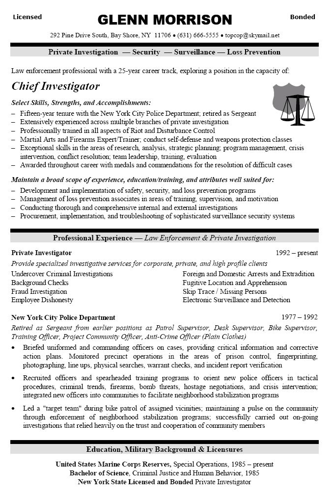 security officer resume example for law enforcement professional with qualifications for private investigator and corporate security. Resume Example. Resume CV Cover Letter