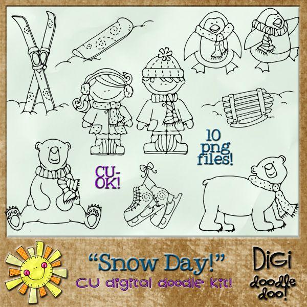 Winter Snow Day CU doodles , cudigitals.com,cu,commercial,digi,digital,scrap,scrapbook,graphic,
