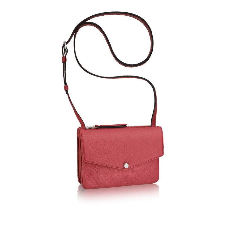 From day to evening with flawless functionality, the Louis Vuitton Twice cross-body clutch is a perfect match. The Monogram Empreinte leather in Poppy gives you a casual chic look while the numerous compartments keep you organized and ready for the day.