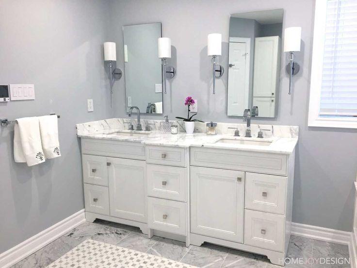HOME JOY DESIGN | Master bathroom with marble top vanity