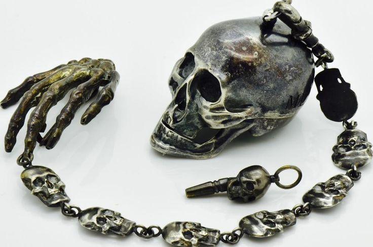 Museum Victorian Silver Memento Mori Skull Pocket Watch Skulls Chain Fob C1850S | eBay