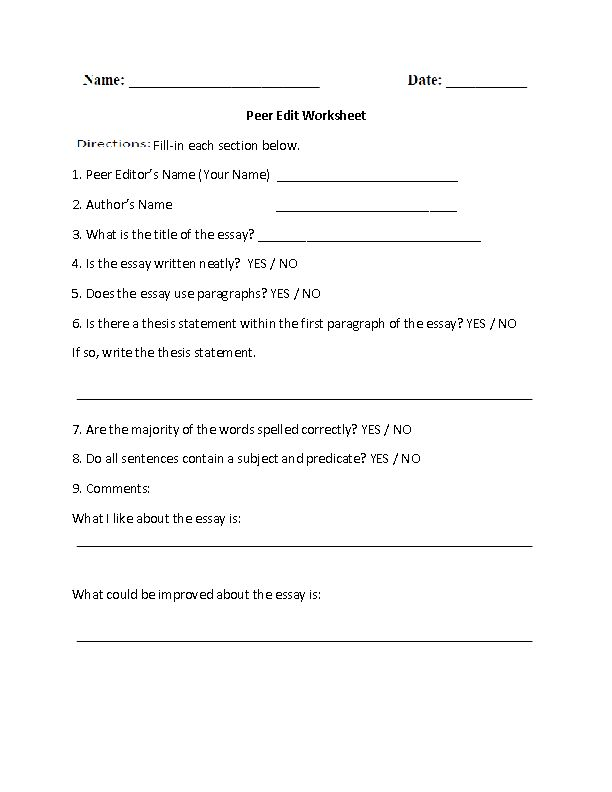 Peer edit essay worksheet
