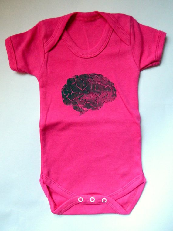 Pink Brain Bodysuit Baby Girl Clothes Science Geek Baby