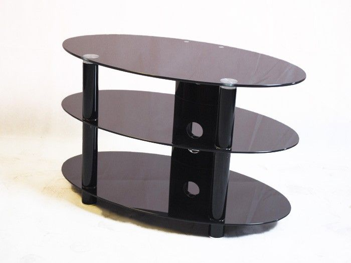"Kango 800 Black Glass TV Stand up to 32"" TVs by Iconic. The Iconic Kango 800 is an elegant oval shaped black glass TV stand that is suitable for LCD, LED & Plasma TVs that are up to 32"" wide, this black glass TV Stand has three shelves to support all your DVD, TV and gaming equipment.   Dimensions: 800mm(w), 450mm(d), 480mm(h)"