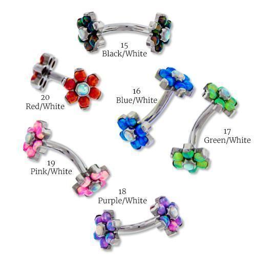 Lust auf Opal Flower Titanium Curved Barbell   – RebelBod | Eyebrow Piercing Body Jewelry