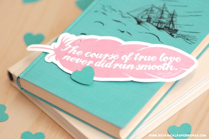 """The course of true love never did run smooth"" DOWNLOAD this FREE feather bookmark and 2 others."