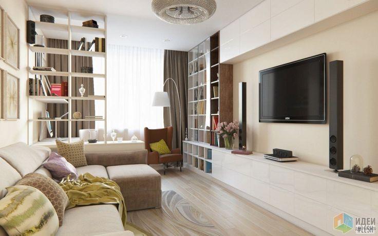 В зоне отдыха располагается большой угловой диван, на котором можно будет разместиться всей семьей за просмотром любимых фильмов. Здесь помимо телевизора располагается также современная аудиосистема и дополнительная зона для хранения.
