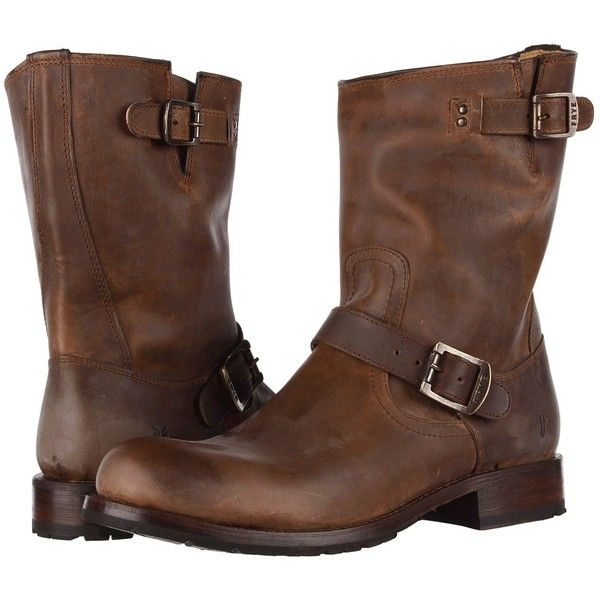 Frye Rogan Engineer ($165) ❤ liked on Polyvore featuring men's fashion, men's shoes, men's boots, boots, brown vintage pull up, mens buckle boots, mens vintage shoes, mens brown motorcycle boots, mens brown biker boots and mens buckle shoes