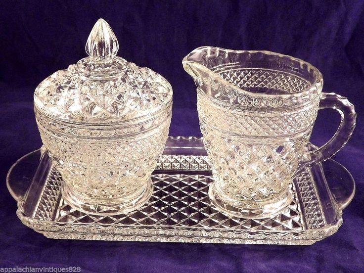 Vintage Anchor Hocking Wexford Glass 3pc. Creamer Sugar And Tray Set Tea Coffee