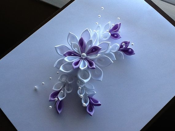 White & Lavender  Kanzashi Flower  - Hair Barrette, Hair Clip or Hair Comb
