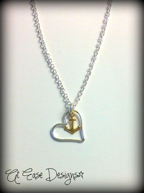Love ittt.  navy love necklace. anchor heart jewelry. military us navy. At ease designs. $25.00, via Etsy.