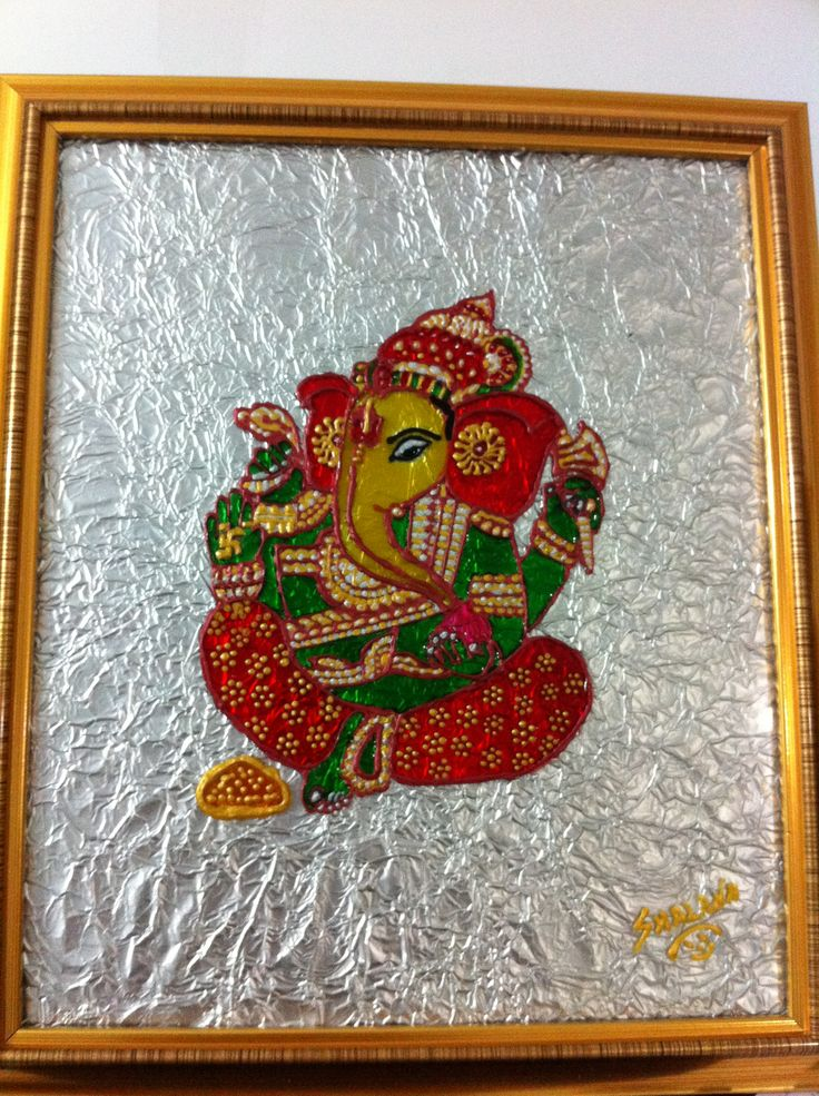 Pics for simple glass painting designs ganesh for Simple glass painting pictures