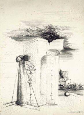 Artwork by Salvador Dalí, Étude D'Architecture avec Port à l'Arrière-Plan, Made of India ink on paper