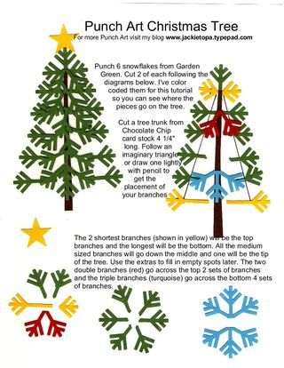 Snowflake Punch Art Tree instructions: Christmas Cards, Cards Punch, Paper Punch, Punch Art, Art Trees, Trees Instructions, Punch Cards, Paper Crafts, Christmas Trees