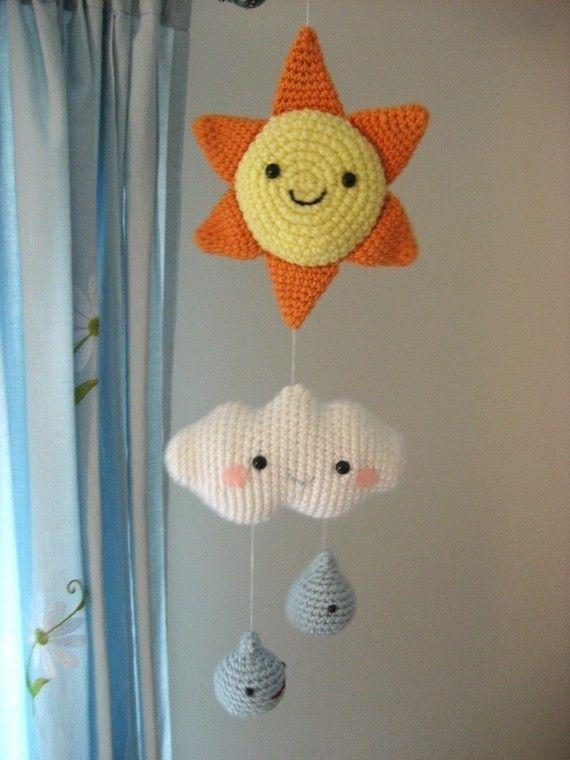 Happy Weather Mobile Crochet Pattern: Shower Gifts, Baby Mobiles, Happy Weather, Mobiles Patterns, Crochet Patterns, Weather Mobiles, Baby Shower, Rain Drop, Amigurumi Patterns