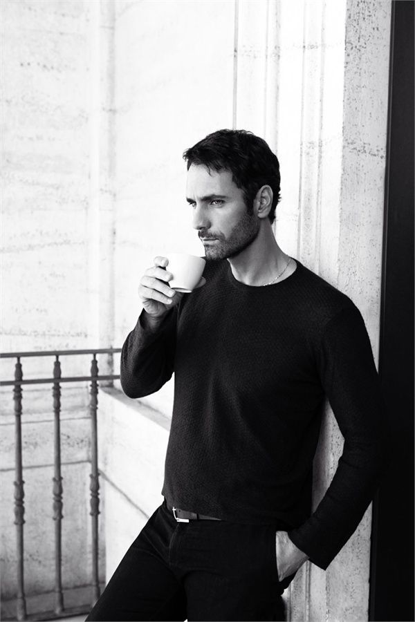 Raoul Bova in Giorgio #Armani - relax after the night before's festivities in a slouchy sweater and a cup of coffee.