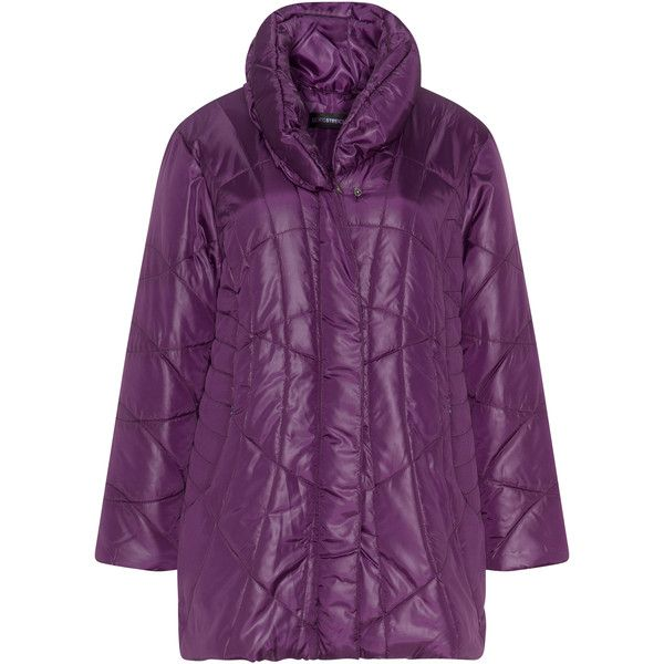 Doris Streich Purple Plus Size Shawl collar quilted jacket ($180) ❤ liked on Polyvore featuring outerwear, jackets, plus size, purple, long sleeve jacket, women's plus size jackets, purple ski jacket, plus size quilted jacket and ski jackets