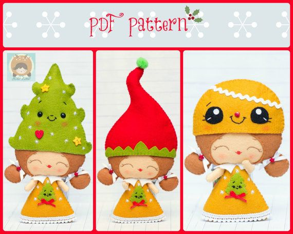 PDF Pattern. Elf girl with Christmas hats: Elf hat di Noialand