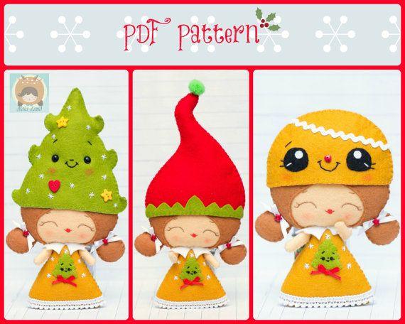 Este patrón de costura de PDF es una elf chica y chica con los sombreros de fieltros telas. Estos adornos están cosidos a mano.  Tamaño de Elf: 6 de