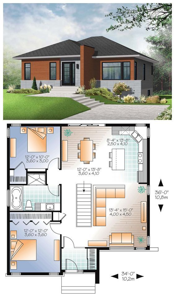 #Modern #HousePlan 76346 | A simple roofline, architectural entry accent and modern windows result in an exciting update to the basic bungalow. With a mere 1158 square foot footprint, this cozy bungalow lives large. An open floorplan includes bright and open living room which flows on to the open island kitchen and dining area. Two bedrooms share a generous bathroom with all comforts including a soaker tub and independent shower. An unfinished basement is a blank slate for your inspiration.