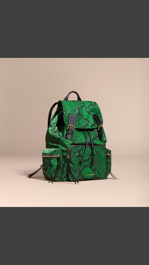 Burberry The Large Rucksack In Python Print Nylon And Leather