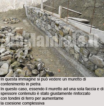 Facciata del muretto in pietra