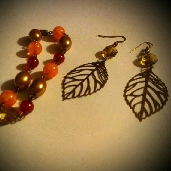 New Fall Bracelet and Earring Set by TKDShop on Etsy, $19.99