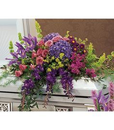 unique+casket+spray+for+mom | Retrospective Casket Spray Funeral Home & Wake Flowers A casket spray ...