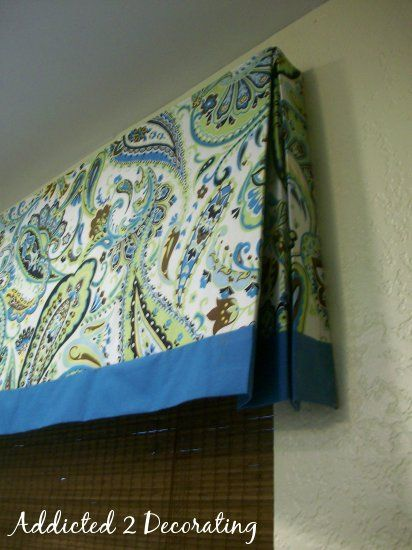 lined valance with contrasting fabric band - real instructions for mounting fabric on board using velcro and attaching board using L brackets