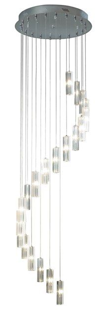 The Galileo range includes a 2 metre drop, 20 single light pendants spiral cluster ceiling light each suspended from a polished chrome ceiling plate each with a crystal glass shade.