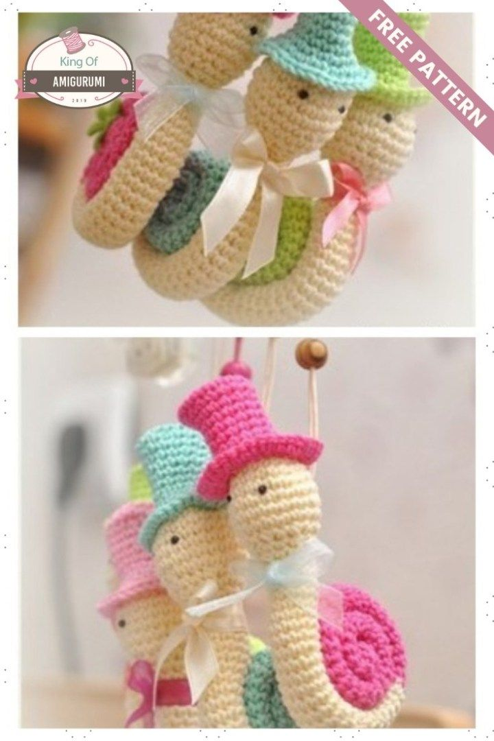 Amigurumi knitted snails description free pattern | งานถัก ...