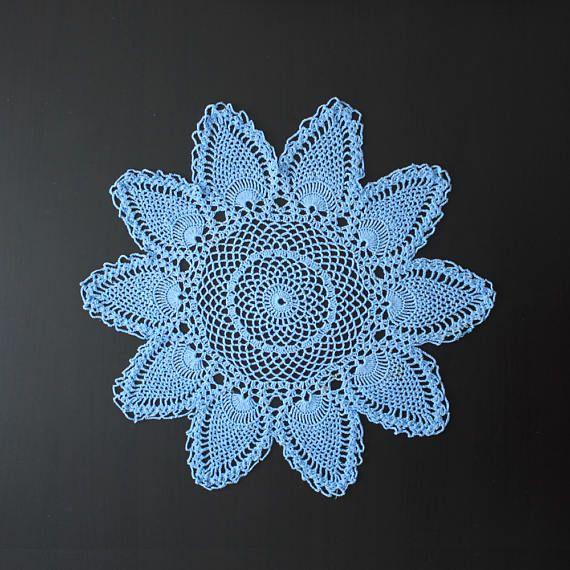 Vintage blue crochet doily 100% cotton