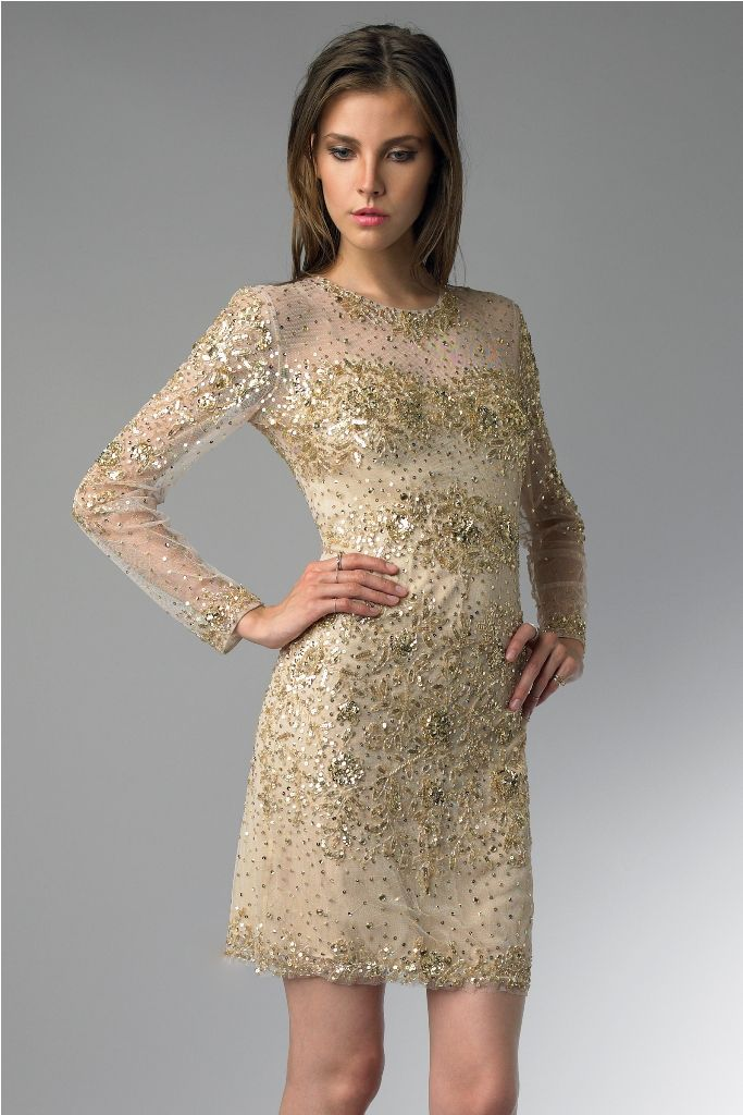 gold-sleeve-cocktail-dress