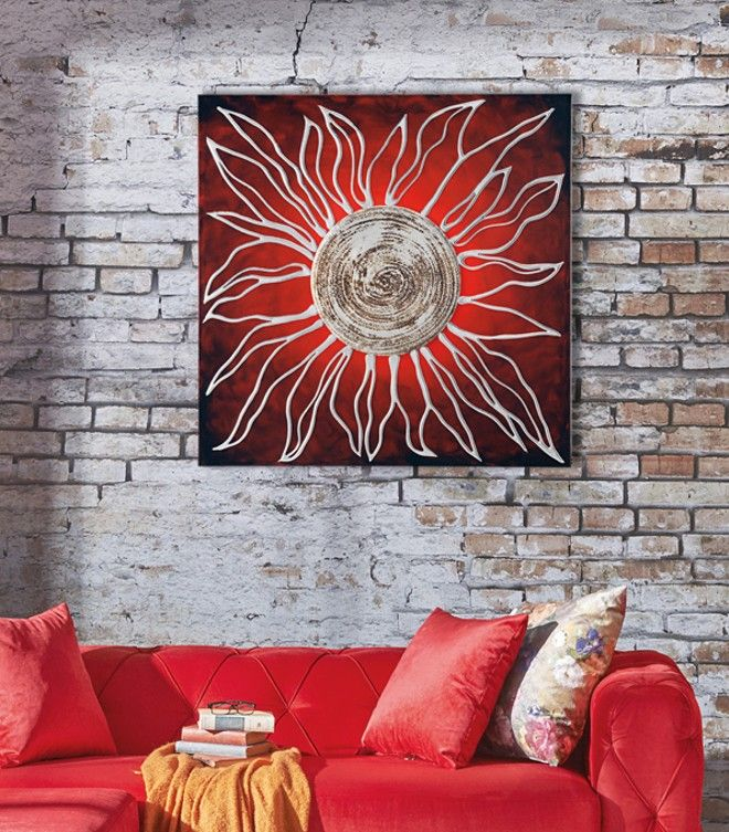 P2874 - SOLE ROSSO di PINTDECOR cm 100x100   Elementi in rilievo decorati a mano con resine, materico, foglia argento su struttura telata, finitura lucida.  #quadro #p2874 #sole #rosso #pintdecor #foglia #argento
