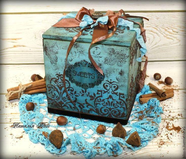 "Купить Короб ""Mint Truffle"" - бирюзовый, короб для хранения, короб для кухни, короб для специй, шоколад"