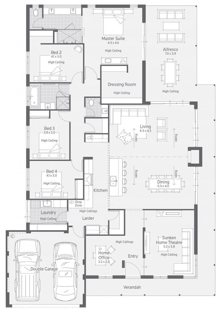 Best Floor Plans Images On Pinterest House Design Floor - House designs with master bedroom at rear
