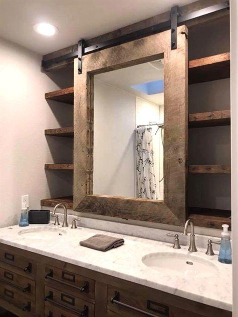 Sliding Barn Door Style Bathroom Vanity Mirror With Shelving Behind It Bathroom Storage Shelves With Images Modern Farmhouse Bathroom House Bathroom Bathrooms Remodel