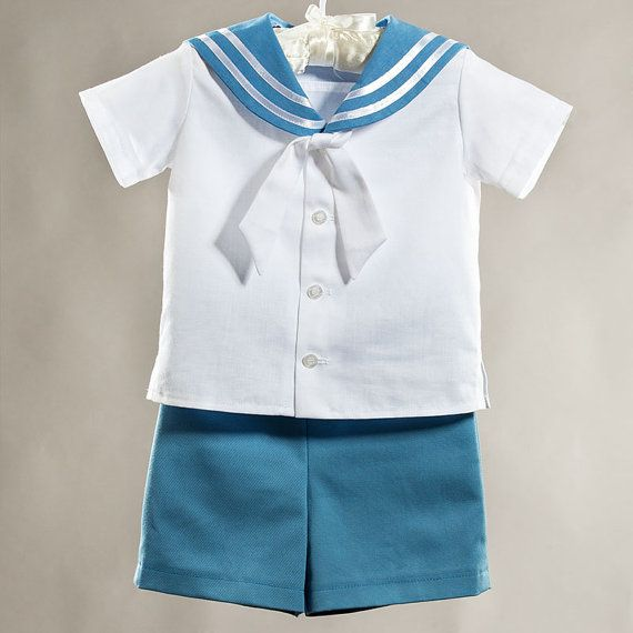 Sailor boy suit, baptism/ christening boy outfit, first birthday boy clothes, ring bearer baby boy suit,  boy party outfit, blue and white