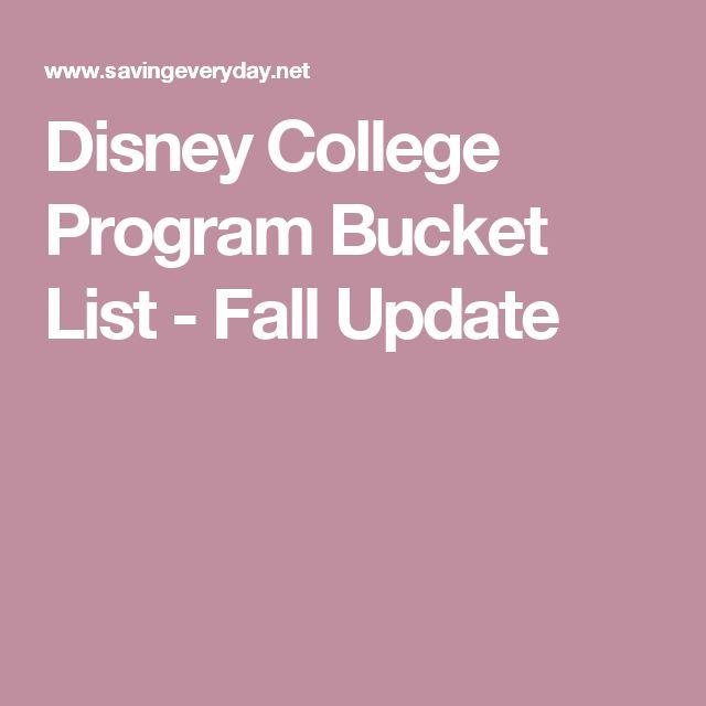 Disney College Program Bucket List - Fall Update
