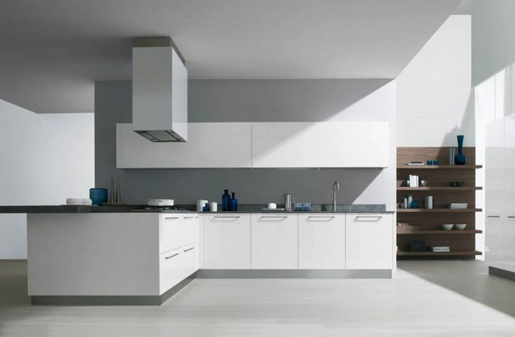 White kitchen cabinets grey color