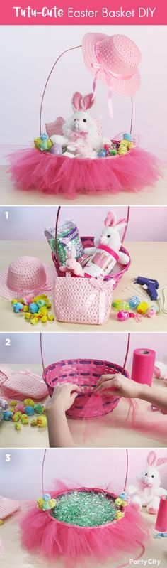 Creating the perfect Easter basket for your aspiring ballerina is easier than you think! DIY this cute idea, starting with a basket, plush bunnies, and a roll of pink tulle. Hot-glue the tulle around the rim of the basket, then add in your plush and all the treats. Your little one will be tutu-excited to open it!