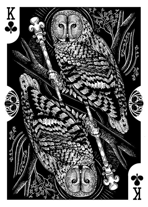 Strigiformes Owls Playing Cards by Renee LeCompte - King of Clubs | more here: http://playingcardcollector.net/2014/11/26/owls-strigiformes-playing-cards-by-renee-lecompte/